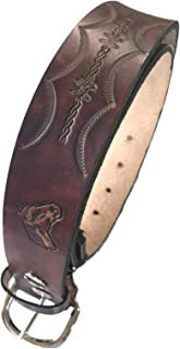 Handmade Mens Leather Belt Brown Horse Design Western Work Casual Belt 1.5