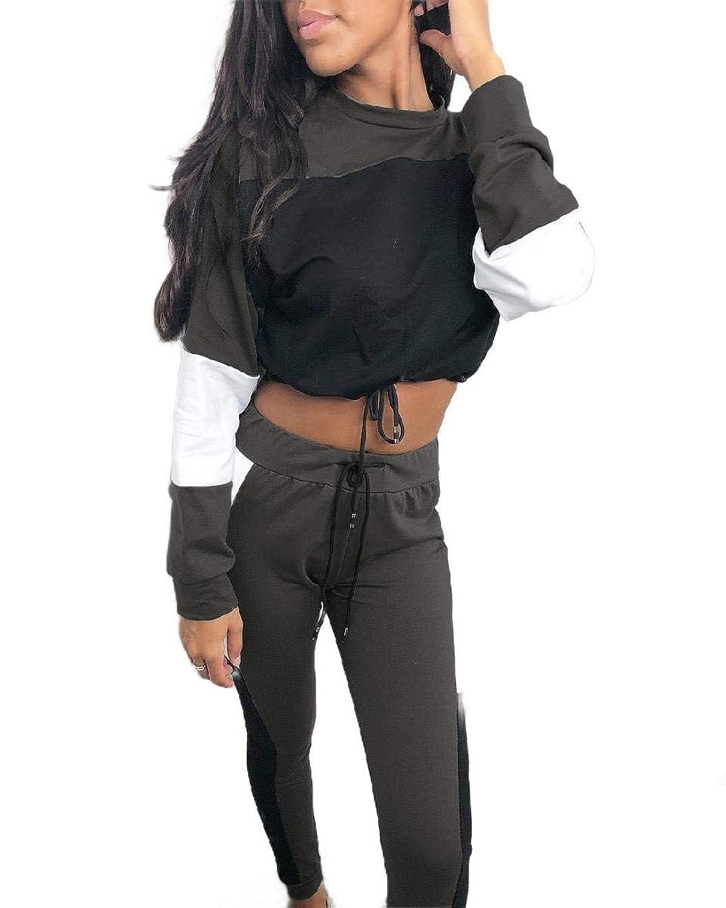 バックアップ取るに足らないスローガンWomens Casual Drawstring Round Neck Crop Top Two Piece Tracksuit Outfit