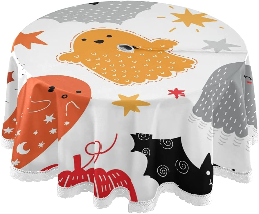 xigua 60Inch 40% OFF Cheap Sale Halloween Tucson Mall Tablecloth Round Funny Elements
