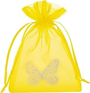 30 bolsitas amarillas de organza con mariposas, Tamaño: 15 x 10, con cinta de satén, bolsa de organza para regalos de cumpleaños, decoración