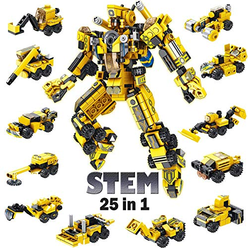 STEM Building Toys for Kids, 25-in-1 Science Robot STEM Toy Engineering Building Blocks Toy kit with 573 PCS Building Bricks for Boys Girls Age 6 7 8 9 10 11 12 Year Old