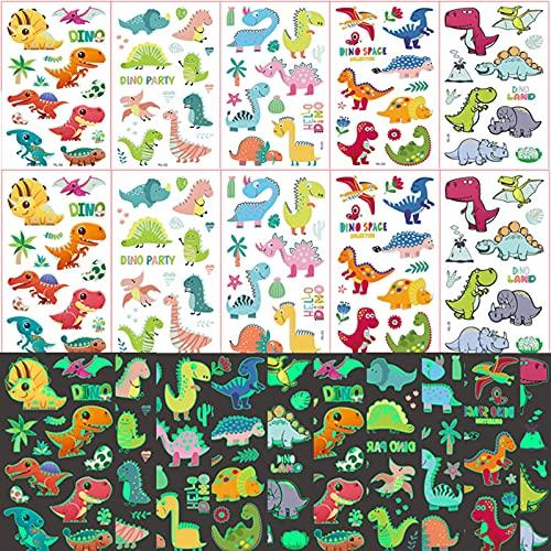 Tattoo Kinder,Dino Tattoo,Dinosaurier Tattoo Leuchtend,Kindertattoos Jungen Dino,Dinosaurier Temporäre Tattoos für Jungs Kinder Spielen Kindergeburtstag Mitgebsel