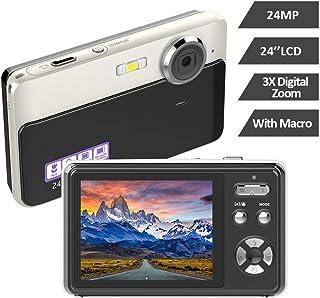 デジタルカメラ デジカメ コンパクトHD 1080P 30FPS 2400万画素 連続ショット 3Xデジタルズーム 初心者 誕生日Micro SDカード32GB対応 日本語説明書付き