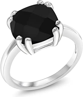 Gem Stone King Black Onyx 925 Sterling Silver Women's Ring (3.60 Cttw Cushion Checkerboard Gemstone Birthstone Available in size 5, 6, 7, 8, 9)
