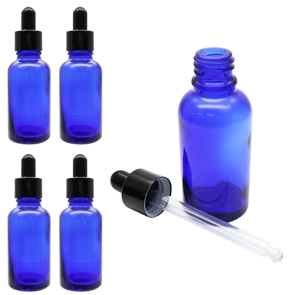 グリット推定ロゴKAURODO 香水やアロマの保存に便利! スポイト付き遮光瓶 ガラス製 30ml 5本セット (ブルー)