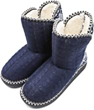 Women's Faux Fur Lined Knit Anti-Slip Indoor Slippers Boots Soft Cozy Memory Foam Midcalf Booties