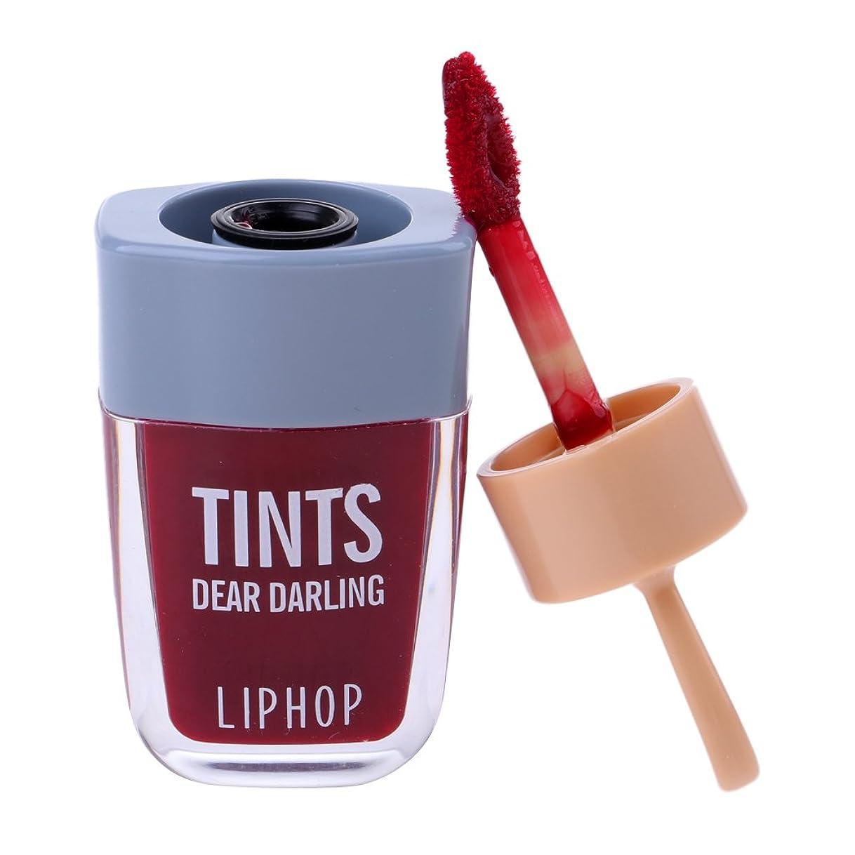 関税ワーム証明リップグロス 口紅 長持ち 防水 マット メイクアップ 唇メイク カラーメイク 6色選べる - ワインレッド