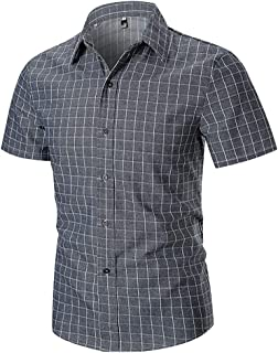 Mojessy Mens Fitted Button up Shirts - Plaid Short Sleeve Non-Iron Button Down Collar