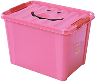 SPICE OF LIFE(スパイス) 収納ケース スマイルボックス ピンク Lサイズ 40×28×27.5cm ポリプロピレン ふた付き スタッキング可 SFPT1530PK