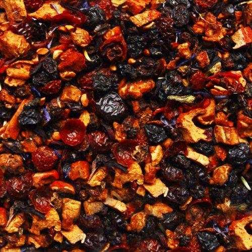 Früchtetee lose Sylter Sanddorn-Sahne Früchtchen Apfel, Sanddornbeeren, Korinthen, Hagebutten, Hibiskus, Kornblumen Früchte Tee 500g