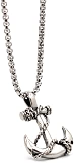 Men's Nautical Anchor Necklace Stainless Steel Pirate Pendant Necklaces with 24 inch Chain