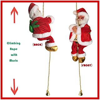 1PC Santa Claus Climbing Rope Ladder with Singing Music - Christmas Electric Plush Doll Figurine Decoration - Animated Hanging Xmas Ornament Toy Holiday Indoor Home Party Decor Prop Gift (Multicolor)