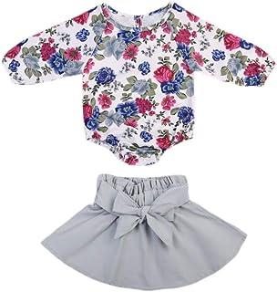 David A Beltran Kawaii Strampler für Neugeborene und Kleinkinder mit Blumenmuster, langärmelig, Strampler  Mini-Rock, Anzugkleid, 0–2 Jahre