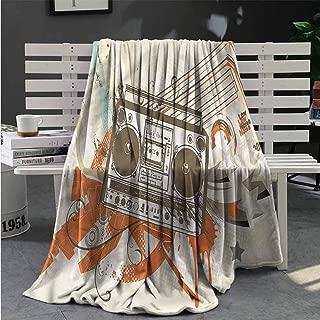 nooweihome Urban Heavy Blanket Boom Box Illustration Urban Flannel Fleece Microfiber Throw Blanket 80