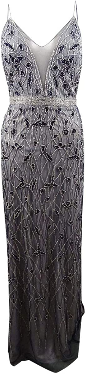Adrianna Papell Women's Spaghetti Strap Illusion Plunging V Neck Beaded Long Dress