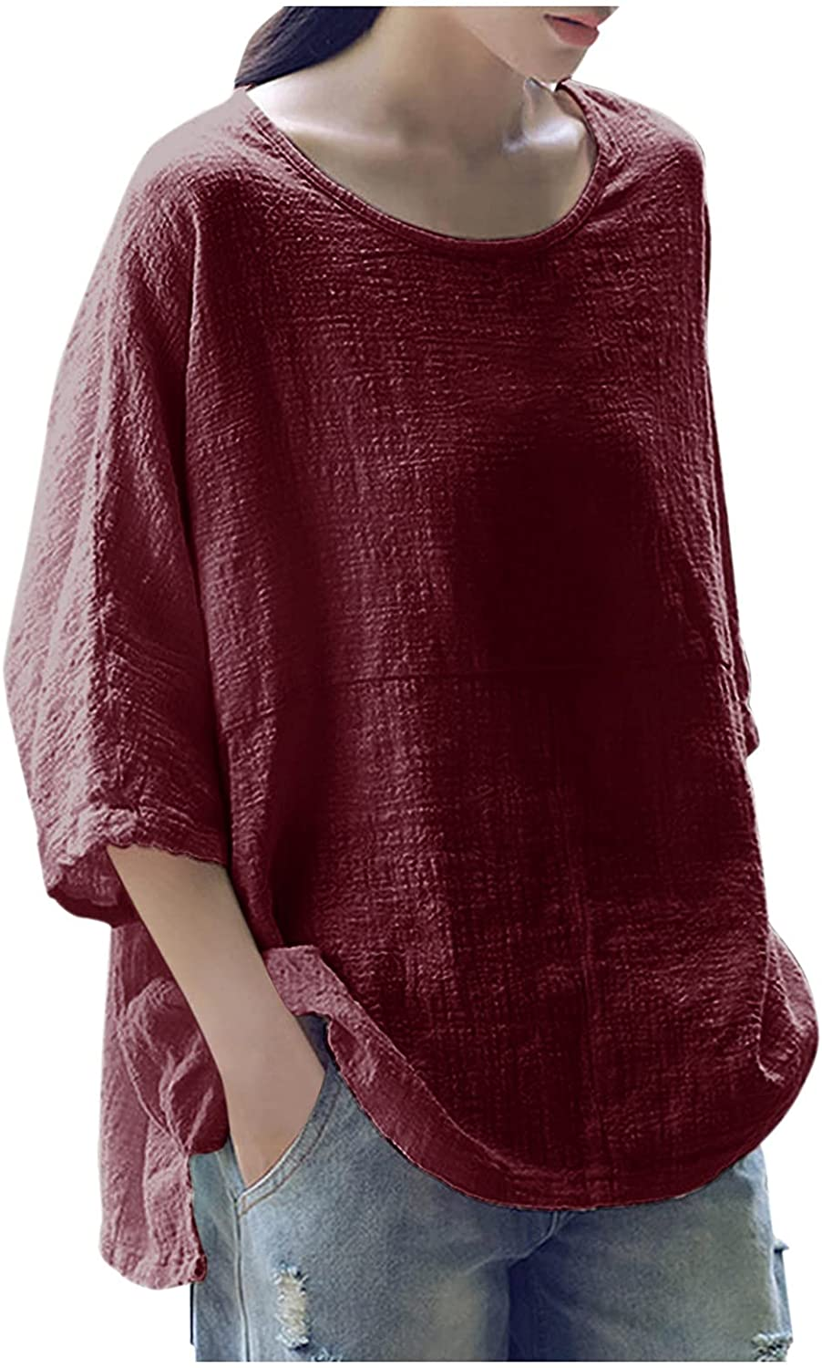 Aukbays Women's Short Sleeve Cotton Linen Shirt Solid Tops Casual Summer Boatneck Tee Shirts Comfy Plus Size Blouses
