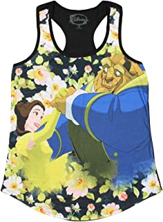 Disney Beauty And The Beast Floral Sublimation Girl's Tank Top