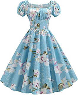 Women's Vintage 1950s Dresses, Retro Short Sleeve Print Evening Party Gown Prom Swing Dress