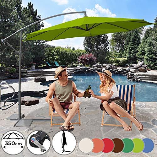 MIADOMODO Parasol Excéntrico - Diámetro Ø250/Ø300cm/Ø350cm, Protección UV30+, Mástil de Acero Ø48mm, Sistema de Manivela, Inclinable, Poliéster 160g/m2, Color a Elegir - Sombrilla con Base y Cubierta