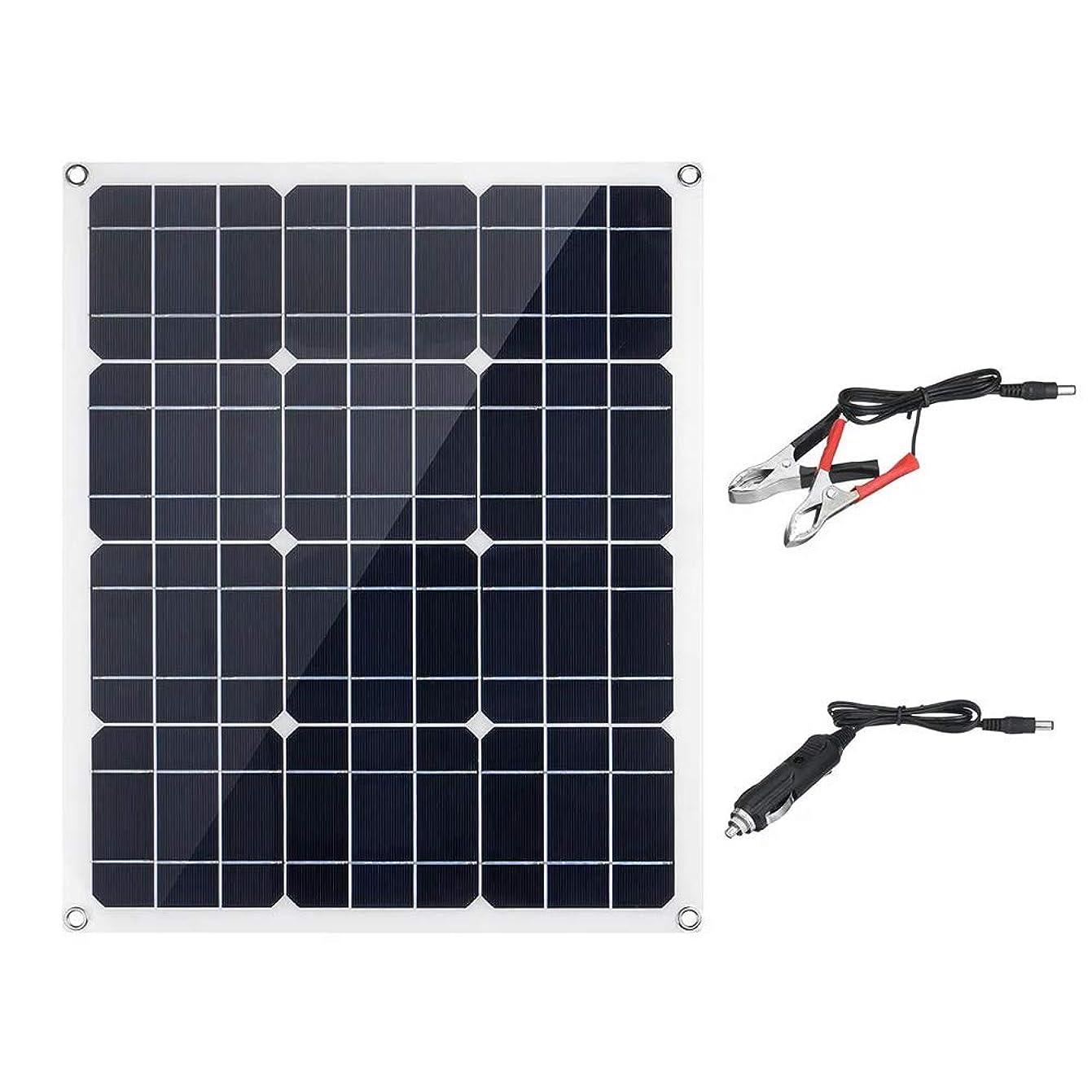 ドレスシャベル悪因子ソーラーパネル ソーラーバックパックのために屋外50W 18V防水単結晶ソーラーパネル 自家発電や商用発電に最適 (Color : Black, Size : One size)