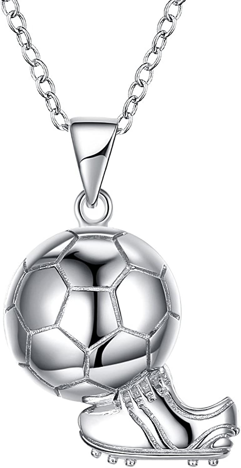 925 Sterling Silver Necklace Fashion Sports Hypoallergenic World Cup Football Shape Pendant Necklace Jewelry for Woman and Man