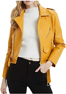 Howely Women Crop Turn-Down Collar Jacket Belted Leather Bomber Casual Coat