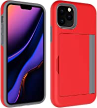 Caseitnow - iPhone 11-6.1 inch Wallet Case with Card Holder Dual Layer Hard Shell Heavy Duty Shockproof Protection Anti-Scratch with Soft Rubber Bumper Inside Designed for iPhone 11 (Red)