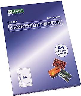 D.RECT | Láminas Para Plastificar | Brillante | Transparente | Tamaño A4 | 125 Micras | Paquete de 100 Unidades | Laminaci...