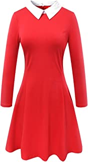 red long sleeve dress with white collar