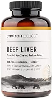 Enviromedica Freeze Dried Beef Liver Natural Energy Supplement Capsules of Pure Grass-Fed, Pastured, New Zealand Bovine wi...