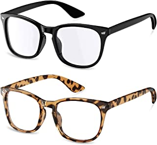 Blue Light Blocking Glasses, Computer/Gaming/Reading/TV/Phones Glasses for Women Men 2 Pack, Square Eyeglasses Anti Glare UV Ray Protection Anti Eyestrain