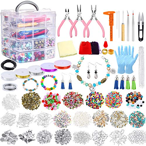 Jewelry Making Kit 1960 Pieces Jewelry Making Supplies for Bracelets Includes PP OPOUNT Beads, Charms, Findings, Jewelry Pliers, Beading Wire for Necklace Bracelet, Earrings Making and Repairing