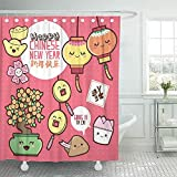 Searster$ Shower Curtain Cortina de Ducha Galleta Naranja Año Nuevo Chino Diseño de Dibujos Animados Lindo Traducción Happy Good Fortune Pink Money Set de Cortinas de Ducha,72X72 in