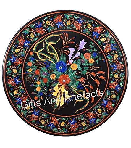 Mesa redonda de mármol hecha a mano con incrustaciones de piedra multicolor Art Sofá mesa para sala de estar de 36 pulgadas