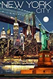 New York City, NY - Skyline at Night (9x12 Art Print, Wall Decor Travel Poster)