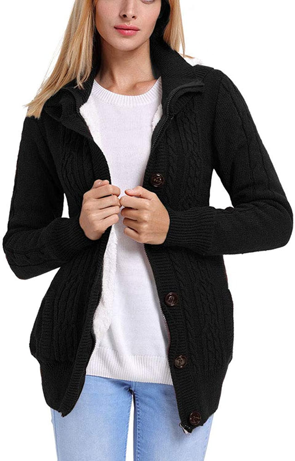 Nikauto Women Long Sleeve Buttonup Hooded Cardigans Casual Knit Cardigan Sweater for Autumn Winter
