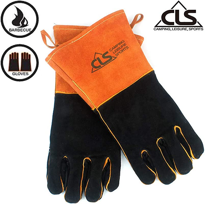CSL Outdoor BBQ Gloves Grill And Fireplace Gloves Heat Resistant Gloves Insulation Thickening Long Gloves High Temperature Leather Gloves Welding Protective Gloves Bite Proof Gloves