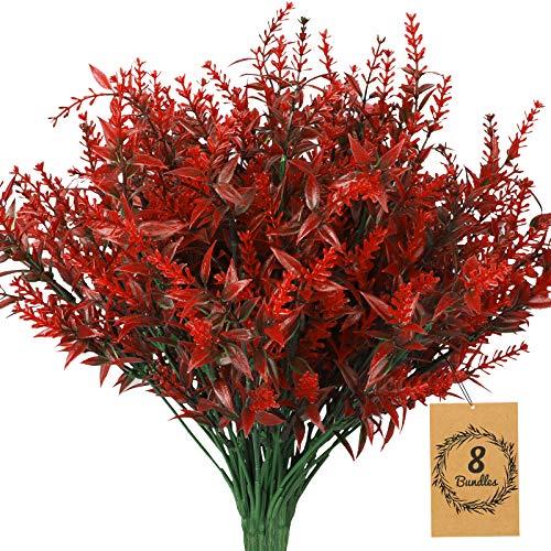 8Pcs Rote Lavendel künstliche Blumen, UV-beständige Pflanzen Kunststoff Gefälschte Lavendel Bouquet Blumen für DIY Indoor Outdoor Hochzeit Home Büro Garten Fenster Dekor