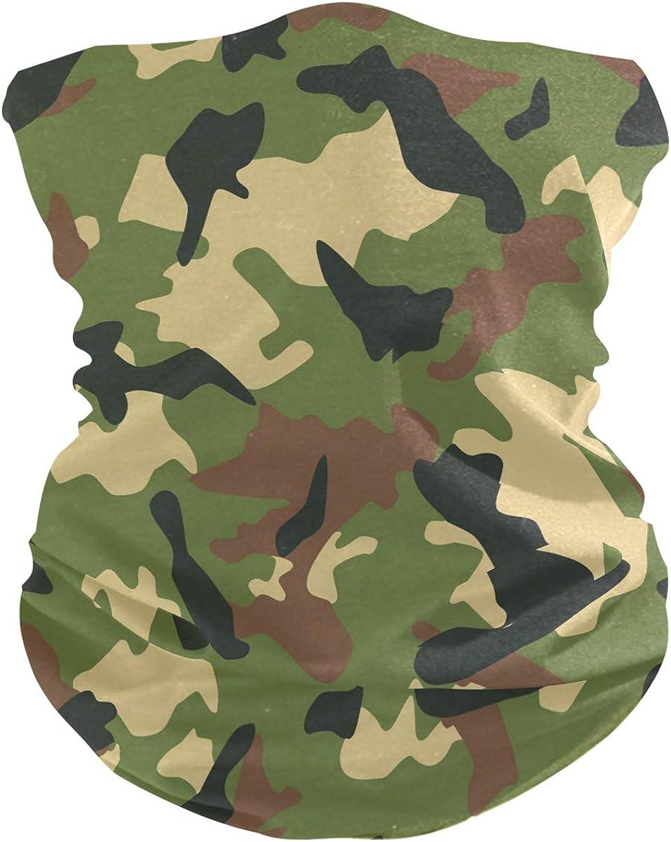 ALAZA Hipster Camouflage Military Green Headwear Sun Dust Magic Scarf Headband Bandana Neck Gaiters Outdoor Sports for Women Man