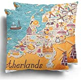 Sweet-Heart Fundas de cojín de Amsterdam Mapa de Países Bajos Viajes Lugares de interés holandeses Personas Comida Tradicional de Holanda Funda de cojín de Dibujos Animados