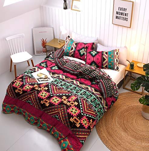 Boho Bedding Duvet Cover Set - Microfiber 3pc Bedding Set - 1 Duvet Cover Sheets + 2 Pillow Shams – Farmhouse Bedspreads Bright Multicolored Floral Striped Geometric Print Retro Bedding Décor (Queen)