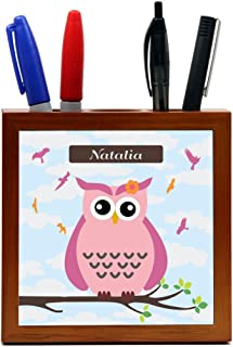 """Rikki Knight""""Natalia"""" Name - Cute Pink Owl on Branch with Personalized Name Design 5-Inch Tile Wooden Tile Pen Holder (RK-PH30010)"""