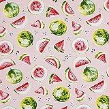 Dekostoff Baumwollköper Wassermelonen – rosa/grün —
