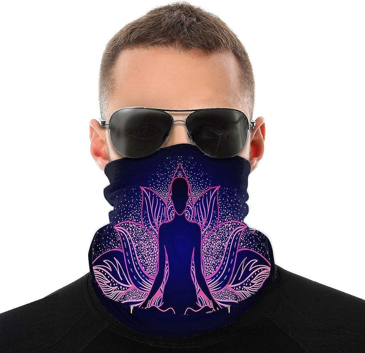 KiuLoam Lotus Yoga Mandala Flower Seamless Face Mask Bandanas Neck Gaiter for Men and Women, Multifunction Headband Scarf for Dust, Outdoors, Sports