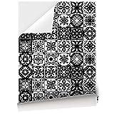 48 Azulejos de Vinilo Adhesivo de 15 x 15 cm para Suelo y Pared de Cocina y Baño, Papel Pintado Vinílico Autoadhesivo, Papel Adhesivo para Muebles, Color Blanco y Negro, Acabado Mate, VNL-SX-001