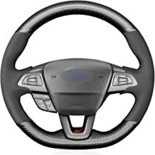 MEWANT Matte Carbon Fiber and Suede Steering Wheel Cover for Ford Focus (ST   RS) 2015-2019 / Focus ST RS Steering Wheel Cover