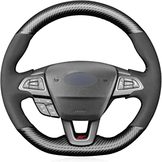 MEWANT Matte Carbon Fiber and Suede Steering Wheel Cover for Ford Focus (ST | RS) 2015-2019 / Focus ST RS Steering Wheel Cover