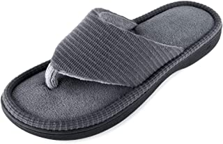 Wishcotton Men's Memory Foam Summer Flip Flop Slippers, Breathable Quick Dry Open Toe Spa House Shoes