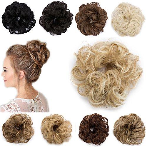 Extension Capelli Finti Chignon Elastico Hair Bun Scrunchie Coda Capelli Ricci Messy Curly Updo 30g Biondo Scuro a Biondo Chiarissimo