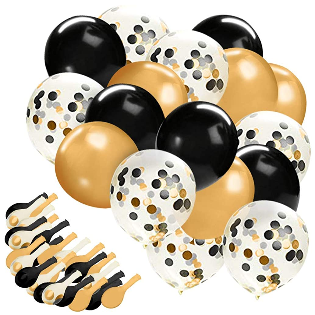 "Gold Confetti Balloons, 30 Pc Black and Gold Confetti Balloons,12""Black Gold And Clear Latex Balloons for Bridal Shower, Birthday Party, Baby Shower, Wedding Party, Graduation Party"